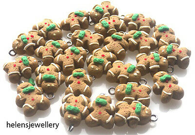 10 Gingerbread Men Charms - Polymer Fimo Unique Beautiful - Free P&P