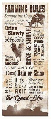Wrapped Canvas FARMING RULES 30x12 Art by Rollie Brandt, Ranch Good Life Decor