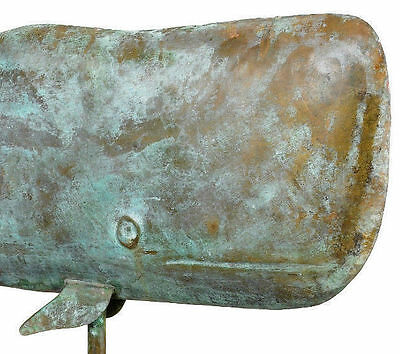 "37"" Large Whale Nautical Weathervane - Blue Verde Patina Color - Free Roof Mount"