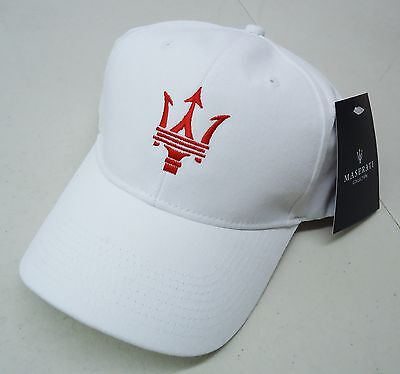 Maserati Authentic White W/ Red Embroidery Trident Baseball Cap Hat Oem# 2018313