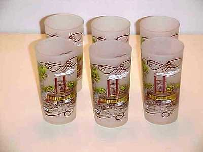 Hazel Atlas Frosted Currier and Ives New Orleans Packet Eclipse Tumbler Set
