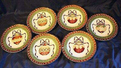 (6) Charter Club Winter Garland Accent Luncheon Plates in Excellent Condition