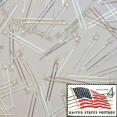 100x White 3mm Flat Top Diffused LEDs Wide Angle Light Lamp USA