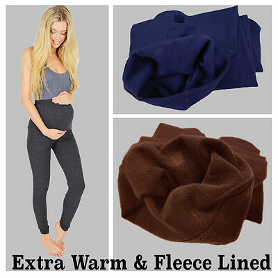 Womens Ladies Maternity Winter Thermal Warm Thick Full Length Leggings
