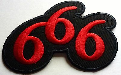 666 NUMBER OF THE BEAST - SEW OR IRON ON BIKER MOTORCYCLE PATCH 110mm x 70mm