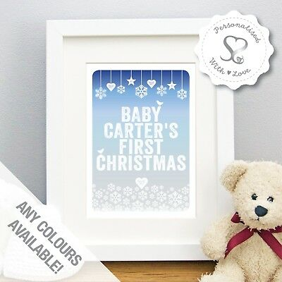 Personalised Snowflakes Baby Boys Girls First Christmas Print or Framed Print