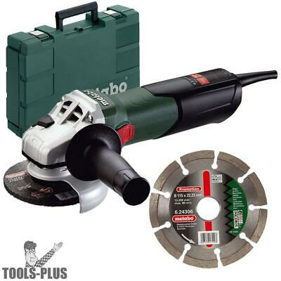 "4-1/2"" 8.5amp Angle Grinder w/ Case and Diamond Wheel Metabo 600354850 New"
