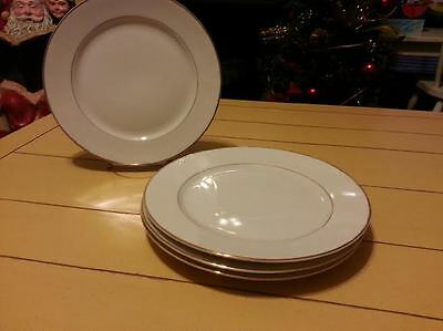Lot of 4 Fine China Of Japan Sonnet Pattern Dinner Plates Gold Band