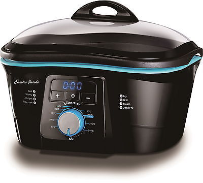 Electric Non-Stick 8 IN 1 Multi Cooker In Black & Blue 1500W 5L Charles Jacobs