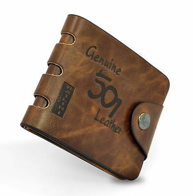 Mens Luxury Soft Quality Leather Wallet, Credit Card Holder Purse Brown