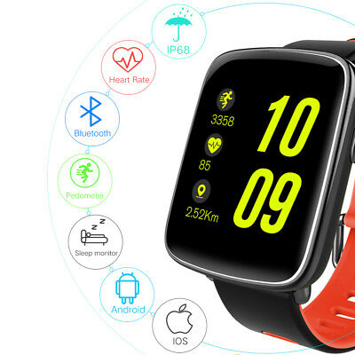KW18 Smart Watch Phone Mate Heart Rate Bluetooth Pedometer For Android IOS Black