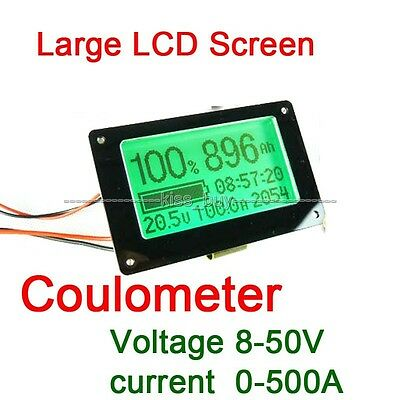Capacity Tester coulometer F/ 8-50V 500A Lithium/Lead-acid Battery Voltmeter AMP