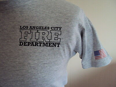 Los Angeles Grey Firefighter American T Shirt- Fire & Rescue Service - Ukfrs