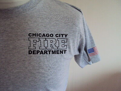 Chicago Firefighter American Grey T Shirt- Fire & Rescue Service - Ukfrs