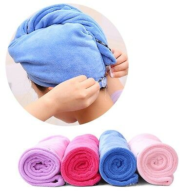 Hair Quick Drying Towel Cap Bath Shower Turban Wrap Hat SPA Clasp Headband Cover