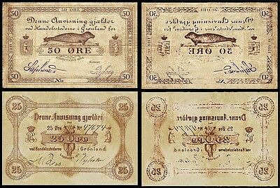 !copy! Greenland Denmark 50 Ore 1875 + 100 Ore 1888 Banknotes !not Real!
