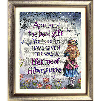 ART PRINT ORIGINAL ON ANTIQUE BOOK PAGE Vintage Alice in Wonderland ALICE Quote
