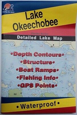 Lake Okeechobee Detailed Lake Map, GPS Points, Depth Contours,Find Fish #L255