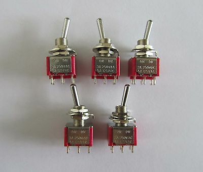 5x DPDT 2 Way ON ON Guitar Mini Toggle Switch SALECOM UL Car/Boat Switches