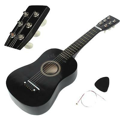 "23"" Black Basswood Acoustic Guitar Child Beginner Kid Gift W/ Pick + Wire String"