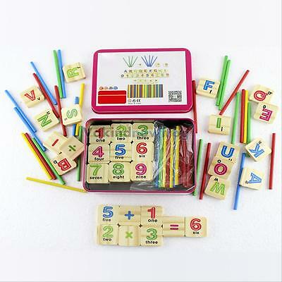 79Pcs Mathematics Wooden Numbers Sticks Kids Learning Counting Educational Toy