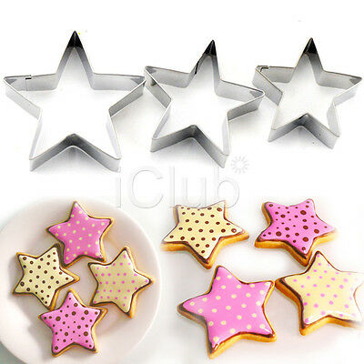 3PCS Star Biscuit Cookie Pastry Fondant Molds Moulds Cutter Cake Decorating UK
