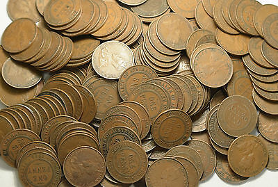 2 Kilos Bulk Lot Australian Pennies George V 1911-1936 ONLY