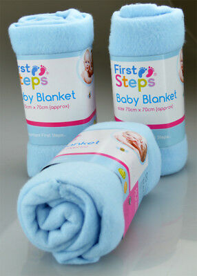 Baby Fleece Blanket / Wrap for Pram, Moses Basket  or Crib (Blue)