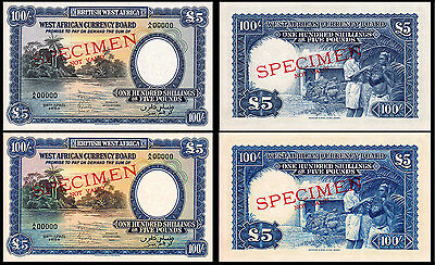 !copy! 2 British West Africa 5 Pounds 1954 Banknotes !not Real!