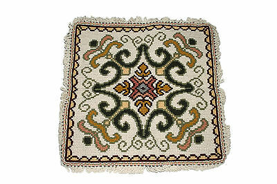 Arraiolos Handcrafted Vintage Portuguese Needlepoint Rug Cushion Pillow