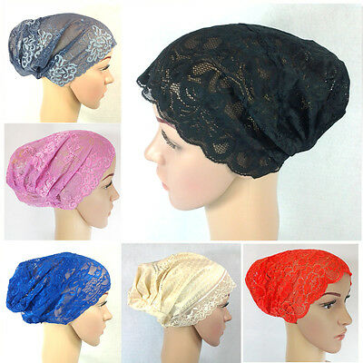 NEW Full Lace Muslim Inner Hijab Caps Islamic Underscarf Hats 20+COLORS