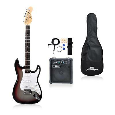 NEW Pyle PEGKT15GS Beginner Electric Guitar Package Grey Silver
