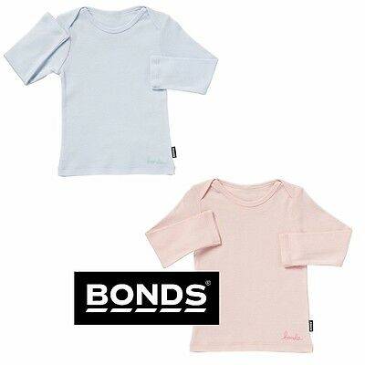 Bonds Baby Boys Girls Long Sleeve Top Light Tee Blue Pink Size 0X5 0X4 000 00 0