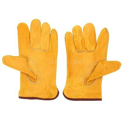2Pcs Outdoor Working Protection Safety Gloves Full-grain Leather Yellow W7BB