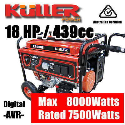 NEW KULLER 18HP 8000w Max/7500w Rated Backup Generator Single-Phase Petrol
