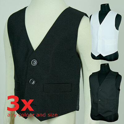 BNWT Boys Toddler Page Boy Formal Vest Sz 00-16 Black White Pinstripe qtyx3