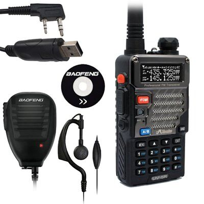 Baofeng / Misuta UV-5R Dual Band FM Ham 2-Way Radio + Mic Speaker + USB Cable UK