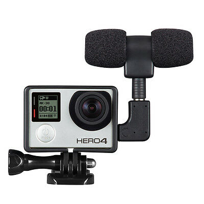 New External Microphone Mic + Adapter + Standard Frame Kit for GoPro Hero 4 3+ 3