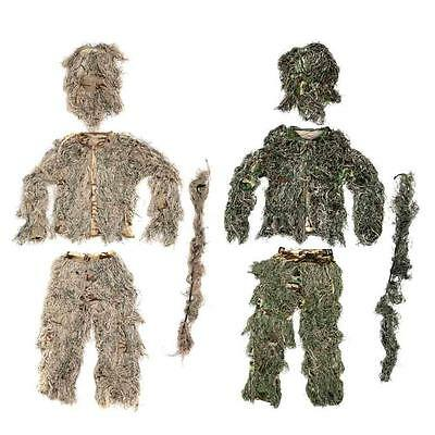 Woodland Camouflage Ghillie Suit & Bag Breathable for Outdoor Hunting Games W8VS