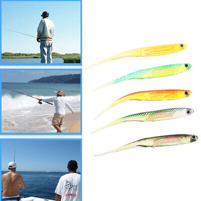 Lot 5pcs Colorful 10cm Soft Silicone Plastic Fish Lures Fishing Lure Bait Tackle