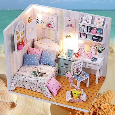 Kits Wood Dollhouse Miniature with LED+Furniture+Cover Doll House Room DIY Decor