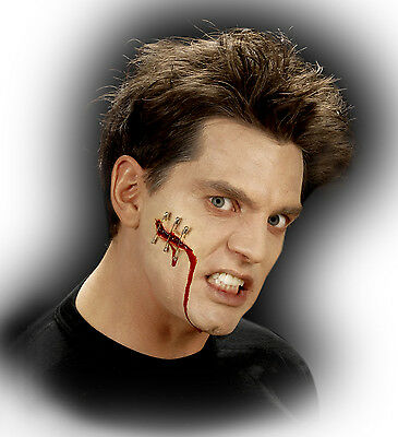 Halloween Horror Special Effect Make Up Pinned Gash Wound Zombie FREE BLOOD TUBE
