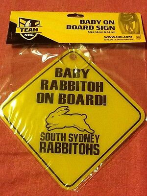NRL SOUTH SYDNEY RABBITOHS Baby On Board Sign