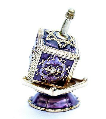 Decor Enameled Jeweled Dreidel & Display Chanukah Hanukkah Sevivon top.Purple