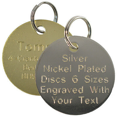 Pet Cat Dog ID Tag Brass and Silver Collar Name Disc Engraved Round Large Small