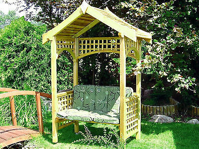 Big Wooden Arbour With Bench, Pergola, Pressure Treated
