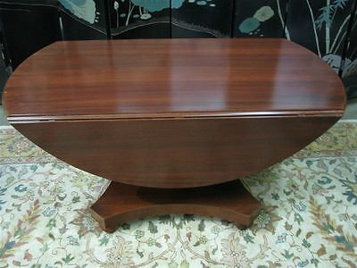 Polo Ralph Lauren Mahogany Finish Round Dining Drop Leaf Pedestal Table