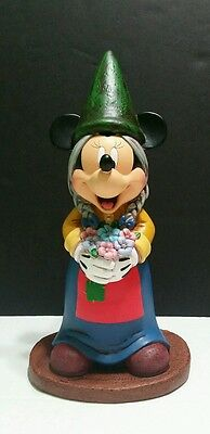 """DISNEY PARKS 13"""" MINNIE  MOUSE Braided Hair  GNOME Garden Figure  NEW In Box"""