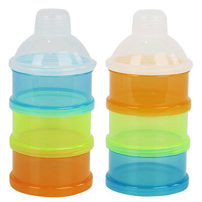 Portable Baby Formula Milk Powder Dispenser Container Cute Storage 3 Compartment