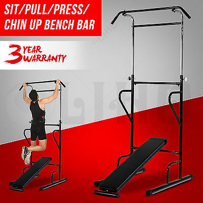 Fitness Pull Push Up Bar Power Tower Dip Station Press Sit Up AB Bench Home Gym